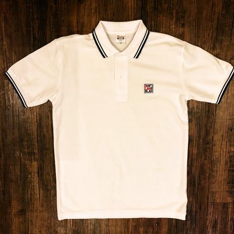BLAHロゴ刺繍 ラインポロシャツ(ホワイト×ネイビー)