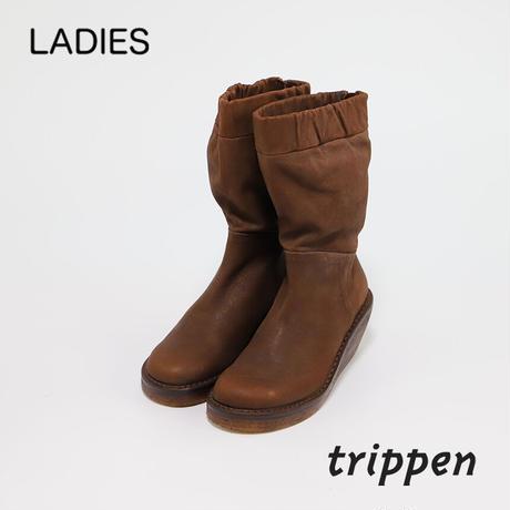 トリッペン レディース ウェッジソール後ろファスナーヴィンテージレザーミドルブーツ trippen POLAR-TIZ ヴィンテージブラウン