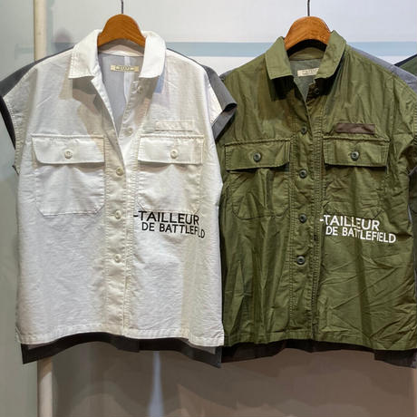 ムラ糸ライトモールスキン 異素材切替ARMY半袖シャツ【BB12-118】