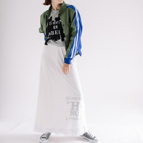 天竺Xメッシュ プリント入りギャザーLONGスカート 【BB11-908】
