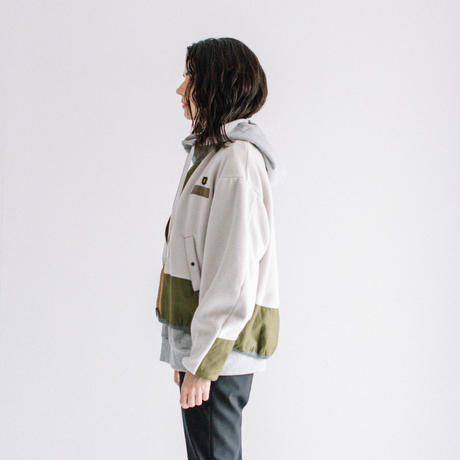 ARMYフリース 異素材切替ノーカラーZIP UPブルゾン【BB14-908】