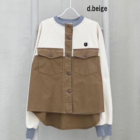バックサテンスラブストレッチ×裏毛 切替シャツ【BB14-105】