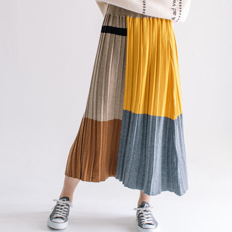 W/Ny/Acライン入りニット ニットプリーツスカート【BB14-702】