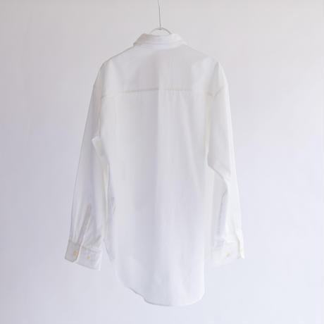 綿強撚ブロークンツイル ランダムロゴプリント長袖シャツ【BB14-101】