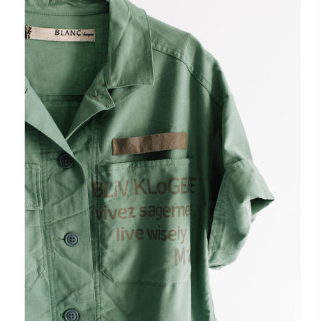 Ten/Pe/Liバックツイル 半袖ロゴプリントシャツ【BB12-120】