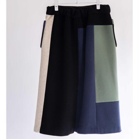 圧縮WOOLカラーブロック スカート【BB14-601】