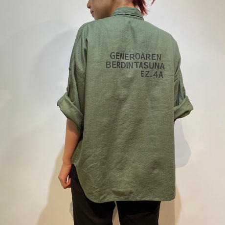 綿麻ウルトラワッシャー バックプリント半袖シャツ【BB13-137】