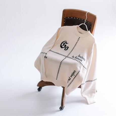 太糸ハンドステッチ×ロゴニット C/N長袖プルオーバー【BB14-708】