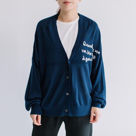 14G シルクキャメル 手書き風刺繍入りカーデ【BB14-714】