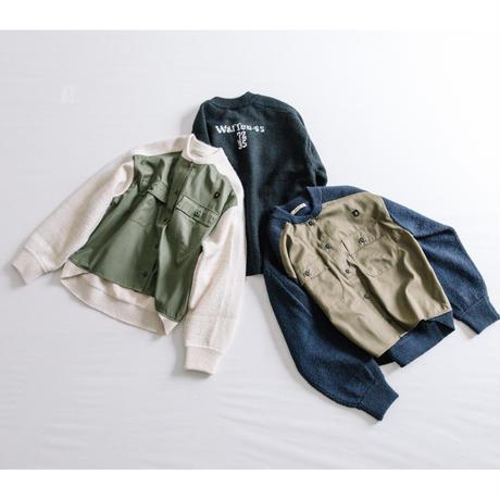 ARMYニット 布帛×ニット切替カーデ【BB14-713】
