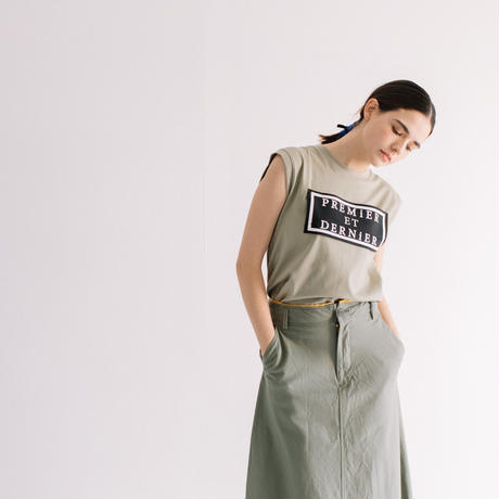 COTTON天竺 グログランTAPEプリントノースリTOPS【BB12-934】