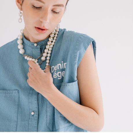 ライトデニム ノースリパールボタンロゴ入りシャツ 【BB11-105】