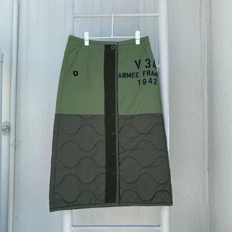 ARMY中綿キルティング プリント切替スカート【BB14-603】