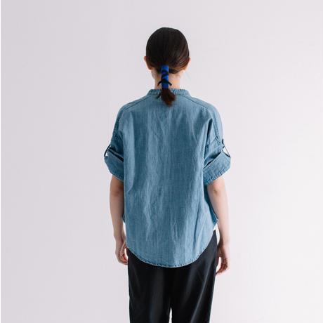 6oz綿麻デニム パールボタン半袖シャツ 【BB88-127】