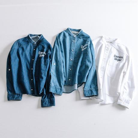 8ozデニム プリント入りデニムパールボタンシャツ【BB88-151】