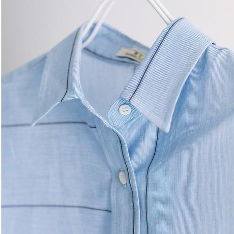 綿/麻ストライプ プリント入り変形袖口シャツ【BB12-114】