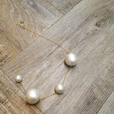 cotton pearl 4point necklace
