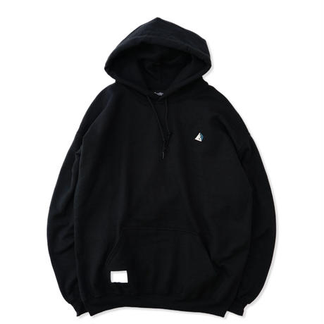 Hooded  Chest Logo Sweat - Black