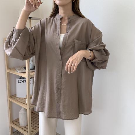 スタンドカラーボリュームシアーシャツ