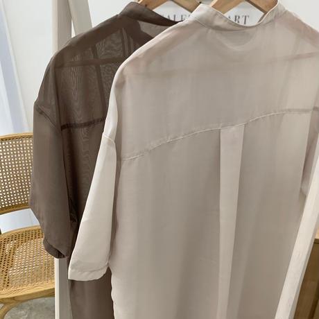 ノーカラー半袖ルーズシアーシャツ