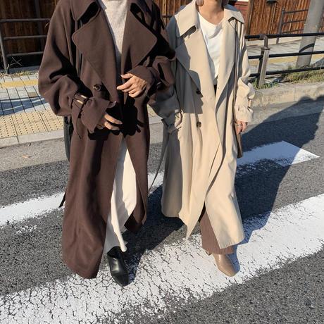 10/23入荷・上質フェイクスウェードボリュームスリーブオーバーロングトレンチコート