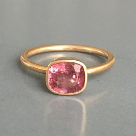 ピンクスピネル k18 ゴールドリング