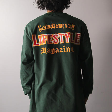 LIFESTYLE MGZN CREW L/S TEE [GREEN]