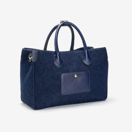 BLEUET M TOTE BAG 【DENIM BLUE x NAVY BLUE】