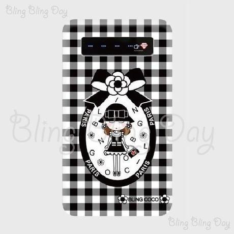 【MB007】モバイルバッテリー:カメリアおリボン枠 お帽子COCOちゃん 黒白チェック