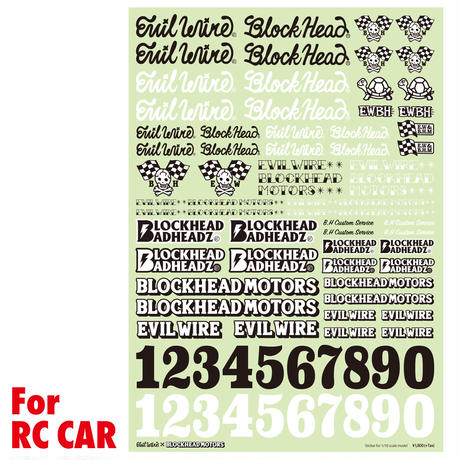 EVILWIRE x BLOCKHEAD MOTORS 1/10 RC用コラボデカールシート