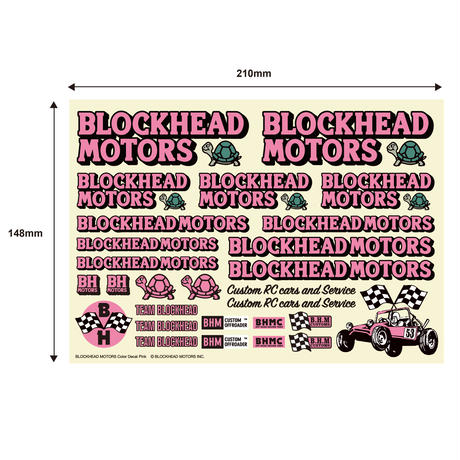BLOCKHEAD MOTORS デカールシート ピンク/ Decal sheet Pink