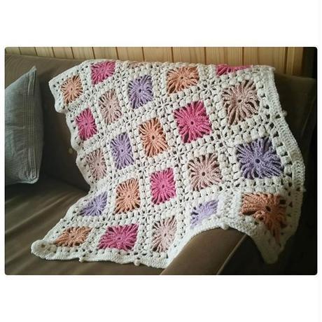 手編み お花のブランケット❁