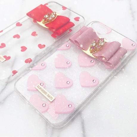 【iPhone5/5S/SE】ビジューリボンピンクハートケース