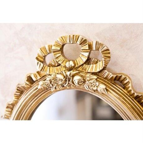 【メーカー直送・送料無料】フレンチリボン ウ ォールミラー(Antique Goldオーバル)