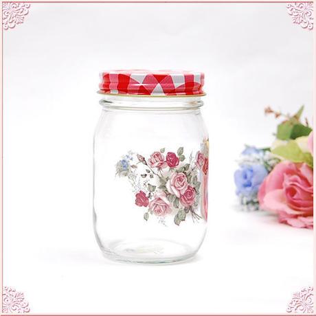 ■プラン・ド・パリ アンジェリカ ガラス瓶M【薔薇雑貨 ガラスジャー アンティーク レトロ 花柄 】