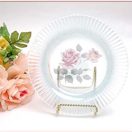 ■プラン・ド・パリ ロゼット ガラスプレートS 【アンティーク ローズ 薔薇雑貨 ぼかし カット クリスタル】