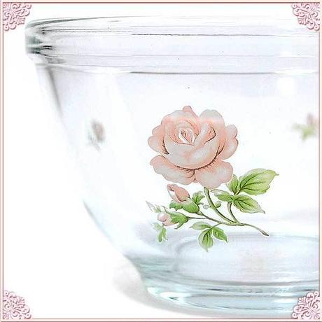 ■プラン・ド・パリ 【ジュリアン】 耐熱ガラスクッキングボールS【耐熱加工 耐熱ガラス 調理道具 ホイップ 泡立て 薔薇雑貨 薔薇柄 バラ柄 花柄 ガラスボウル】
