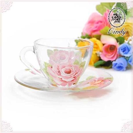 ■薔薇の食器Lindy(リンディ) シャルール ガラスカップ&ソーサー 【薔薇雑貨 テーブルウエア ピンクローズ 洋食器 大輪】