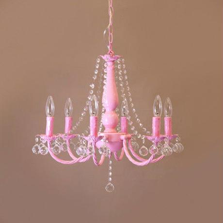 【メーカー直送・送料無料】【LED対応 E12/40W水雷型】クリスタルガラス シャンデリア BESSI ベッシー(6灯)ピンク