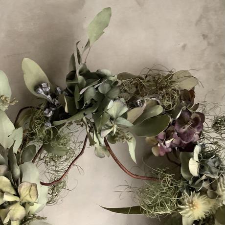 "Antique hydrangea oval wreath ""Tsugumi"" (アンティーク紫陽花のオーバルリース""ツグミ"")"
