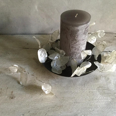 Lunaria Garland & Timber Candle set With iron plate L (ルナリアのキャンドルセット L アイアンプレート付き )