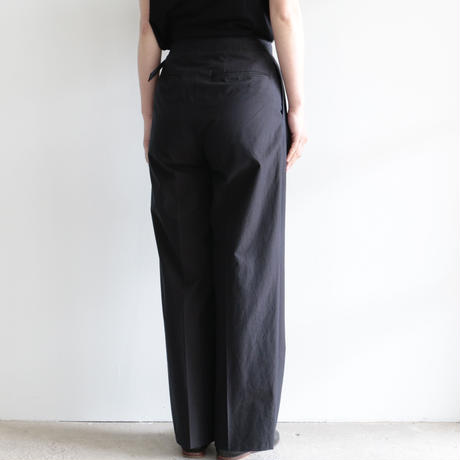 AURALEE / WASHED FINX RIPSTOP CHAMBRAY BELTET PANTS(Lady's/BLACK)