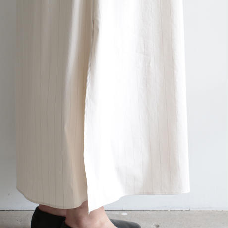 AURALEE / FINX NYLON STRETCH STAND COLLAR ONE-PIECE(Lady's/IVORY STRIPE)