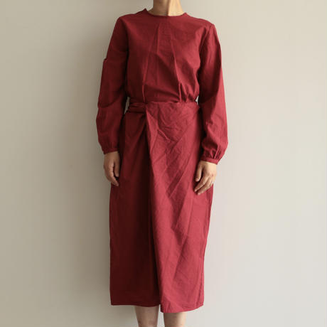 COSMIC WONDER /Organic cotton classic wrapped dress (lady's /Ruby lotus)