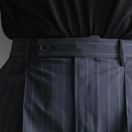 AURALEE / FINX NYLON STRETCH SLACKS(Lady's/NAVY STRIPE)