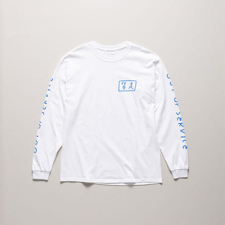 Blue Cab OUT OF SERVICE L/S TEE White x Blue