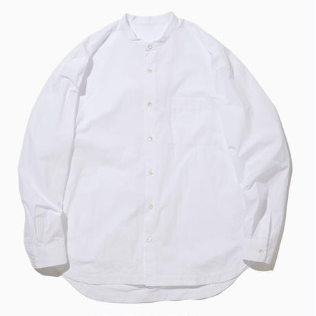 BASUKIA WIDE BAND COLLAR SHIRT-WHITE-