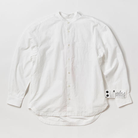 BASUKIA BAND COLLAR SHIRTS -WHITE-