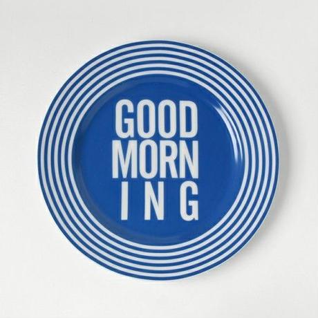 GOOD MORNING DISH PLATE -BLUE-
