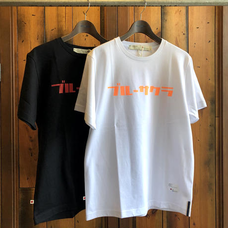 "BASIC T-SHIRT  ""AOSAKURA"" 【WHITE-ORANGE】/ BS-S3-CSP02-wh-or"